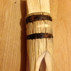 Primitive Fishing Spear – attachment point, bound with sinew covered in pine pitch