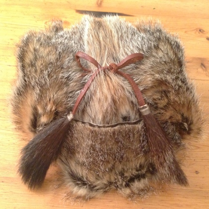 Front View - Woodchuck ushanka hat, made from locally harvested woodchuck pelts.