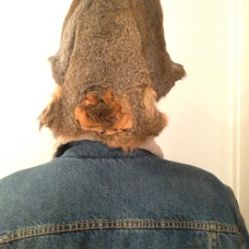 Squirrel Hat - back of hat view - made from Fox and Gray squirrelss. Featuring Fox Squirrel face decoration.
