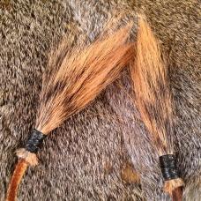 Squirrel Hat - detail - squirrel tail tassels.