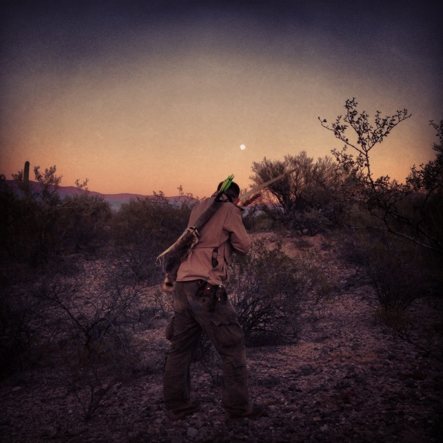 Bow hunting rabbits in Arizona.